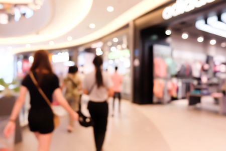 Blur image people in shopping mall.