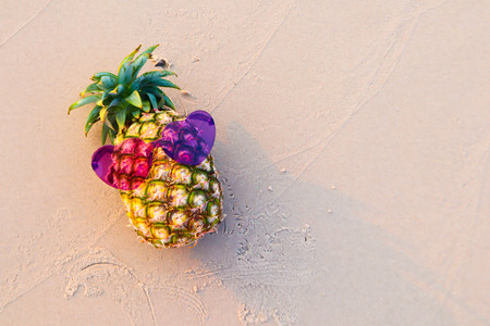 Fashion Hipster Pineapple on the beach.