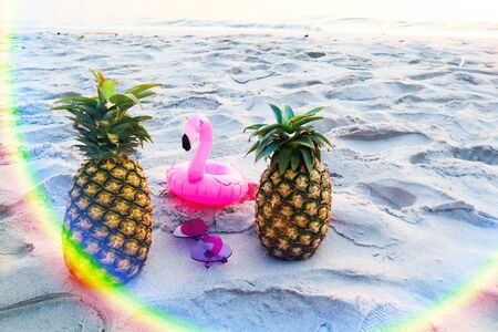 Pineapple with sunglasses on the white sand beach. Stockfoto