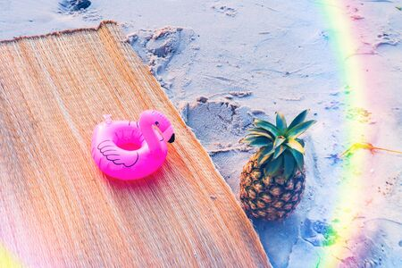 pineapple on the beach,Summer concept.
