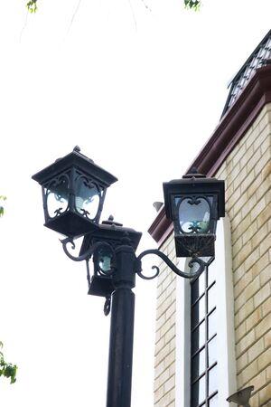 Lamp post street in city. Stockfoto