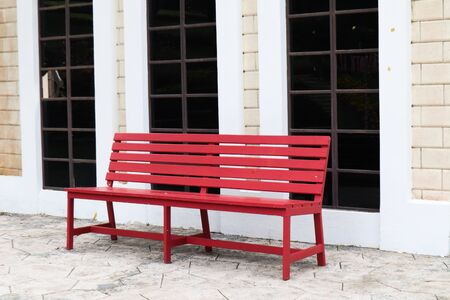Red bench in retro style resort. Stockfoto