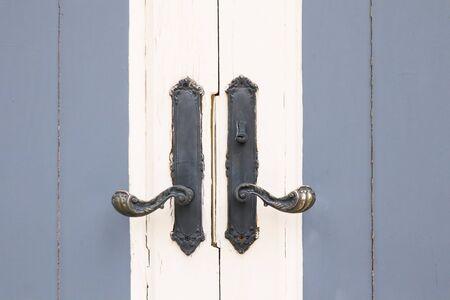 Retro style door of house.