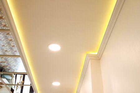 Design modern lamps on the celing in cafe.