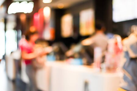 Blurred image of Customer at restaurant blur background with bokeh. Stock Photo