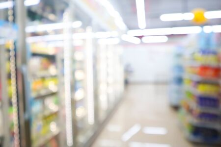 blur mage of supermarket and variety product for background usage. Stock Photo