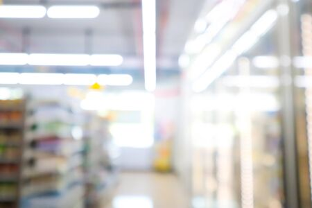blur mage of supermarket and variety product for background usage. Stock Photo - 132955511