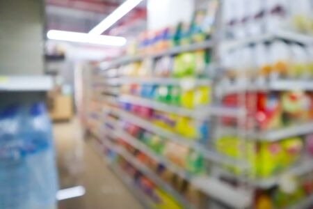 blur mage of supermarket and variety product for background usage. Stock Photo - 132954973
