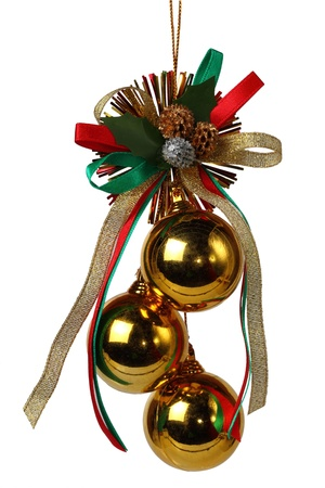 Christmas balls and Ribbon on white background Stock Photo - 16741849