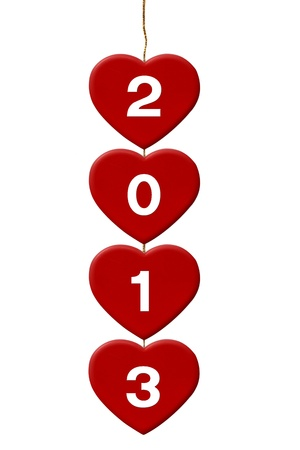 new year s eve: 2013 Four Red Hearts  isolate on white background