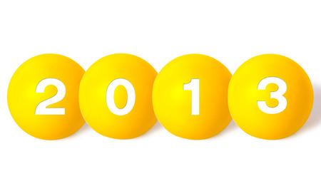 New Year 2013 Christmas balls on white background photo