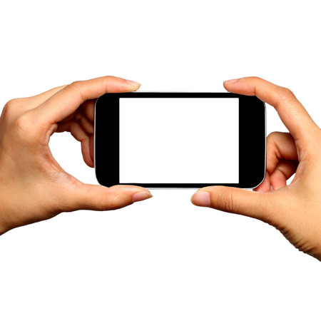Blank screen mobile phone in Two hands photo