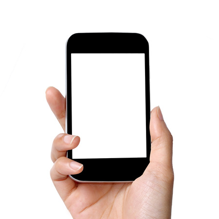 blank screen modern mobile phone in women hand  Stock Photo
