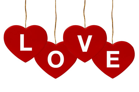 Red Hearts_Love isolate on white background Stock Photo
