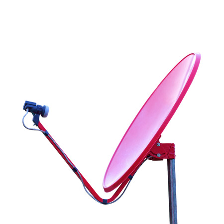 Red satellite dish isolated on white background