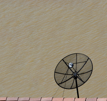 housetop:  satellite dish antennas on Housetop over Mekong River,Thailand