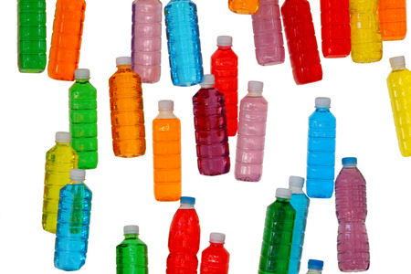 Bottles with colored liquids in them, colored bottles