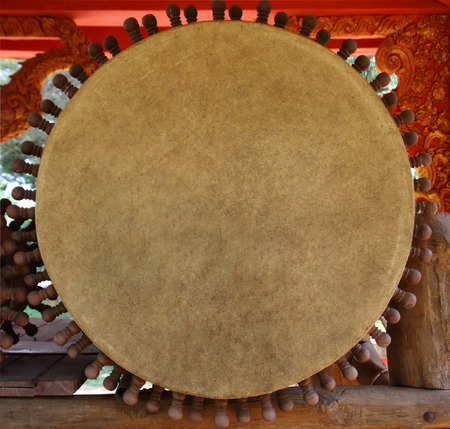 front of big drum for Buddhist Cult in temple of north Thailand