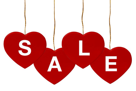 Sale ,Four Red Hearts  isolate on white background