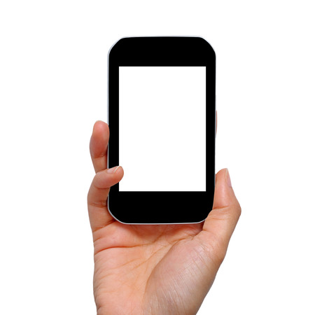clipping  messaging: Mobile phone in hand,Isolated on white background