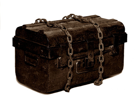 treasure trove: old treasure Chest Secured with a Chain Stock Photo
