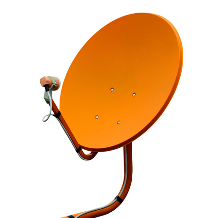 parabolic mirror: Orange Receiver.Satelite dish Stock Photo