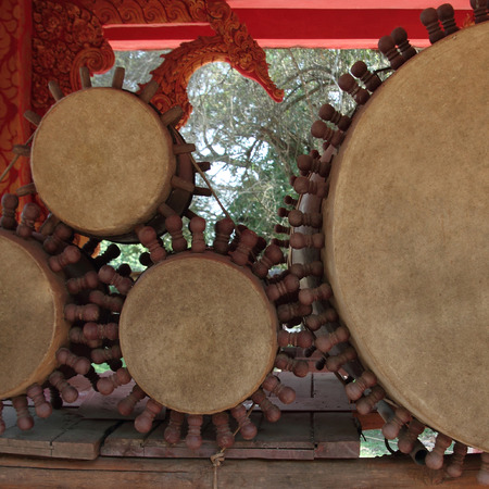 Set of  drums  in temple of north Thailand Stock Photo