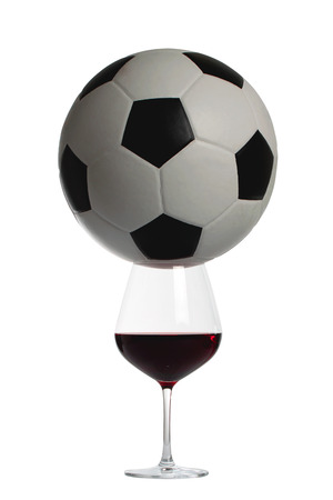 soccer ball and red wine