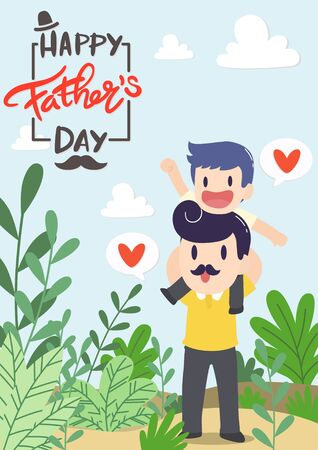 Happy Father's Day. Dad with daughter on occasion of Happy Father's Day celebration. Greeting card for the holiday. Vector illustration background in cartoon flat design style Ilustração