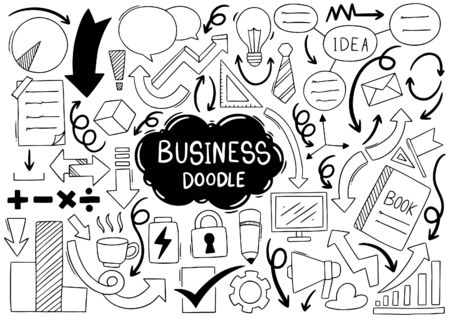 hand drawn doodle Elementals Businesses Ornaments Icon background  Vector illustration