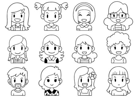 Hand Drawn Doodle Collection cute Funny Avatars cartoon emoticon Icon,set of cute vector faces, different emotions isolated on white background Vector illustration Illusztráció