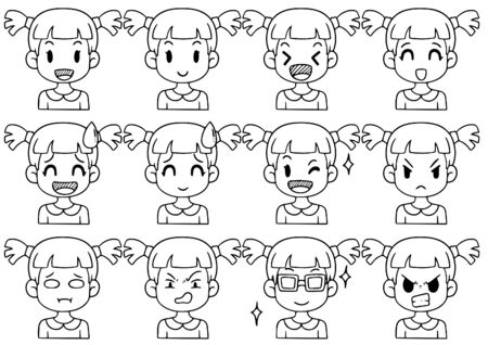 Hand Drawn Doodle Collection cute Funny Avatars cartoon emoticon Icon,set of cute vector faces, different emotions isolated on white background Vector illustration
