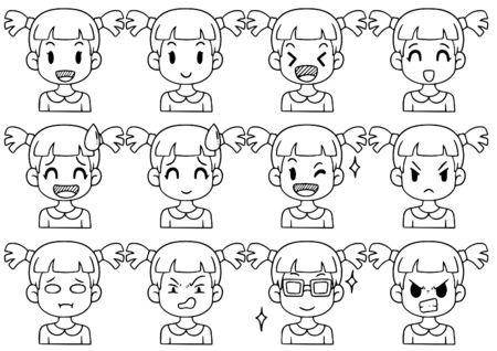 Hand Drawn Doodle Collection cute Funny Avatars cartoon emoticon Icon, ensemble de visages vectoriels mignons, différentes émotions isolées sur fond blanc Illustration vectorielle