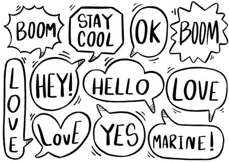 hand drawn background Set of cute speech bubble eith text in doodle style on white background isolated abstract Ilustracja
