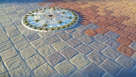 mosaic floor: Circle pattern of mosaic floor background