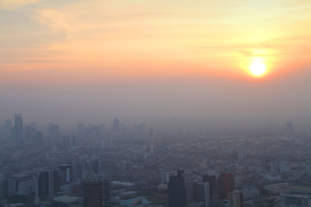arial view: Arial view of big city in misty sunrise morning, Bangkok, Thailand.