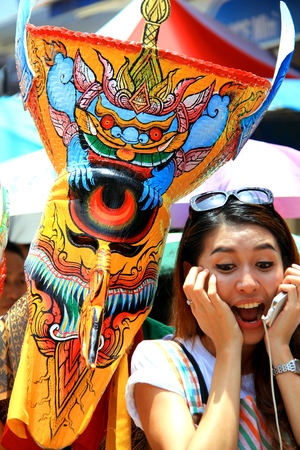 loei: Loei province, Thailand- June 28,2014: Unidentified man wear ghost costume and unidentified woman at  Phi Ta Khon or Ghost Festival at Dan Sai district, Loei province, Thailand.
