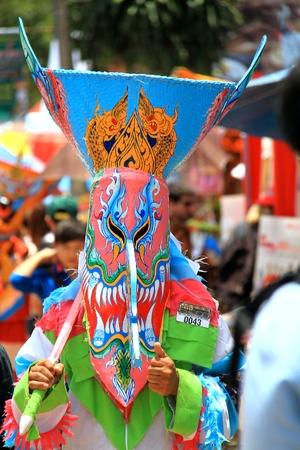 loei: Loei province, Thailand- June 28,2014: Unidentified man wear ghost costume at  Phi Ta Khon or Ghost Festival at Dan Sai district, Loei province, Thailand.
