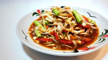 Spicy green papaya salad (Somtum in Thai language), Famous traditional Thai food