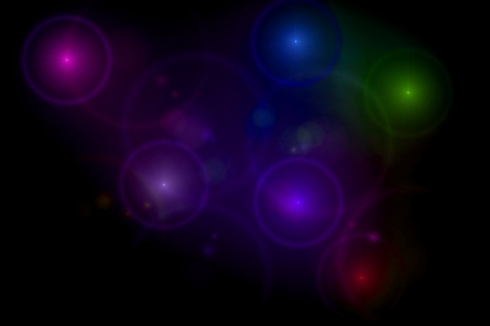 Abstract black background with multi color light flares