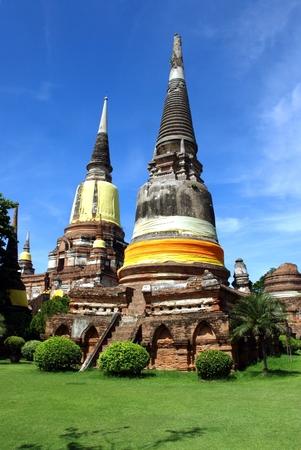 Ancient  pagodas at Wat Yai Chai Mongkol in Ayutthaya historic attractions,Thailand Stock Photo