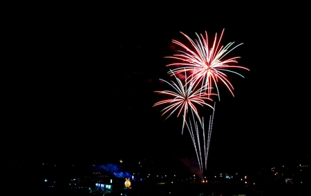 pyrotechnics: Colorful fireworks light up in black sky,