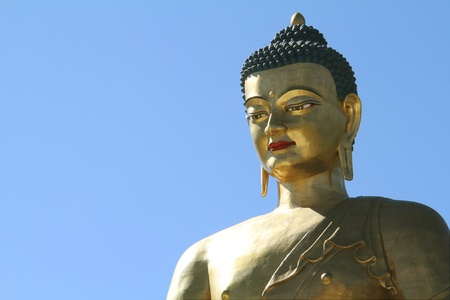 Buddha Dordenma statue on blue sky background, Giant Buddha, Thimphu, Bhutan