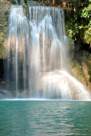 Details of beautiful waterfall, Erawan waterfall is famous waterfall in Erawan national Park, Kanchanaburi province, Thailand. Stock Photo