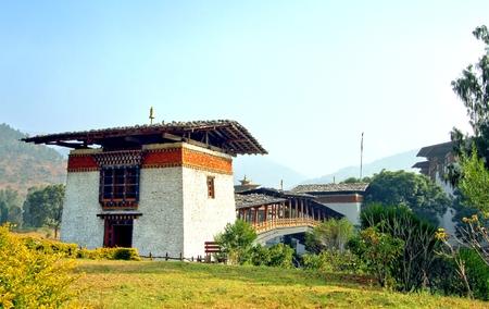 PUNA MOCCHU BAZAM : Antique  wooden bridge at Punakha Dzong Monastery or Pungthang Dewachen Phodrang (Palace of Great Happiness) across the Mo Chhu river in Punakha, the old capital of Bhutan.
