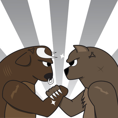 Image of bull bear preparing to fight