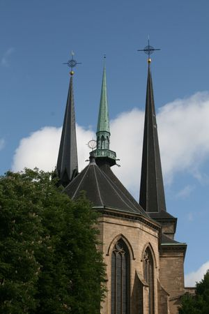 A view of the spires of the cathedral in Luxembourg