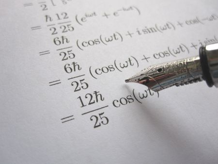 Checking mathemical calculations with a fountain pen