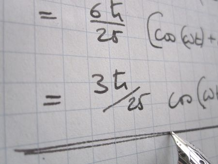 Hand written physics calculations on quantum mechanics Stock Photo