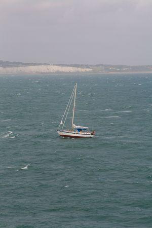 Yacht near the coast at Dover Stock Photo - 5274074
